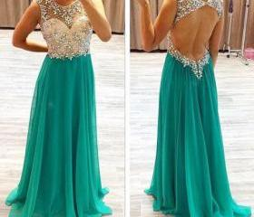 Beaded Open Back Prom Dress,Sexy Evening Party Dress,Formal Green Beaded Occasion Dress,Open Back Party Dress