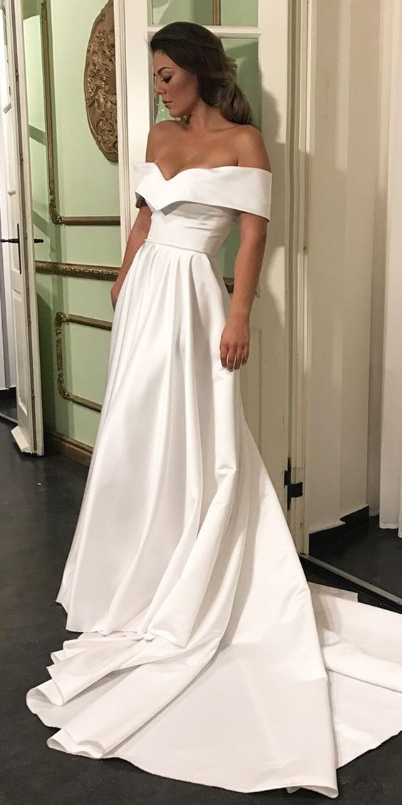 Romantic off the shoulder wedding dresses satin wedding for Simple romantic wedding dresses