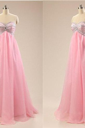 2015 New Pink Chiffon Prom Dress,Pink Long Prom Dress, Custom Prom Dress,Custom Color Prom Dress,Besded Long Prom Dress,Evening Dress