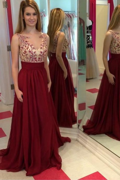 Elegant Full Length Burgundy V-Neckline Prom Dress Lace Occasion Dress