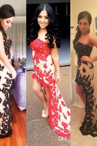 Hot Selling Fashion Lace Applique Prom Dresses Strapless Sweetheart Neck Sheath High Low 2014 Pretty Pageant Gowns Party Dress