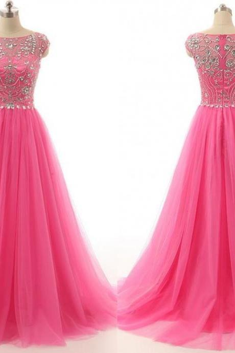 New Arrival Quinceanera Dresses Pink 2016 Tulle Crystal Prom Gowns 2016 A-Line Party Dresses