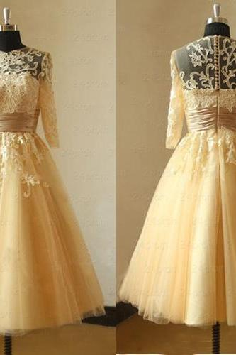 Lace Prom Dress, Champagne Prom Dress, Vintage Prom Dress, Homecoming Dress, Long Sleeves Prom Dress, Cheap Prom Dress, Evening Dress