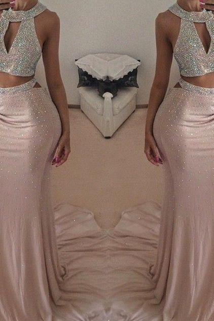 Two-Piece Formal Dress Featuring Beaded Embellished High Halter Neck Crop Top