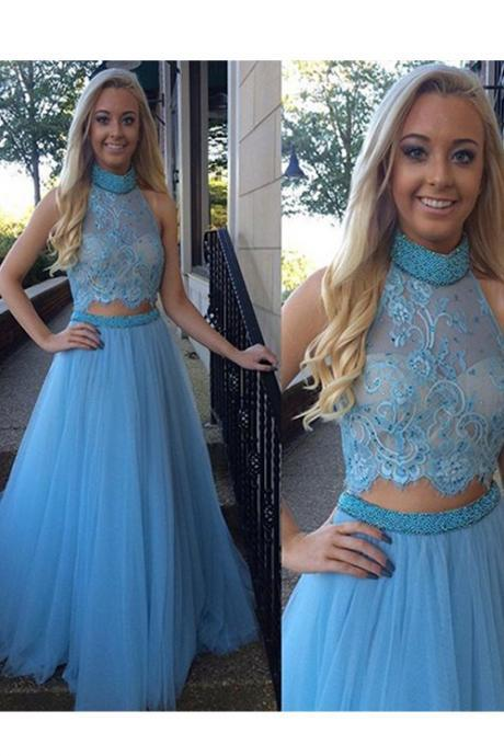 Pretty Two-piece Prom Dresses,Tulle Beads Party Dresses Evening Gowns