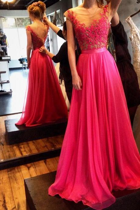 Elegant Prom Gown,Pink Prom Gown,Lace Prom Gown,Cap Sleeve Prom Gown,2015 Prom Gown,Long Prom Dress,Backless Prom Dress,Evening Dress P2017