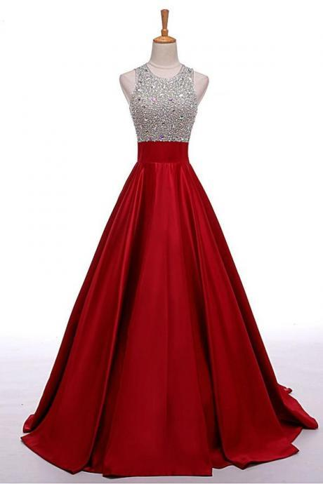 Beading A-line Prom Dresses,Cheap Prom Dress,Prom Dresses For Teens,Satin Evening Dresses