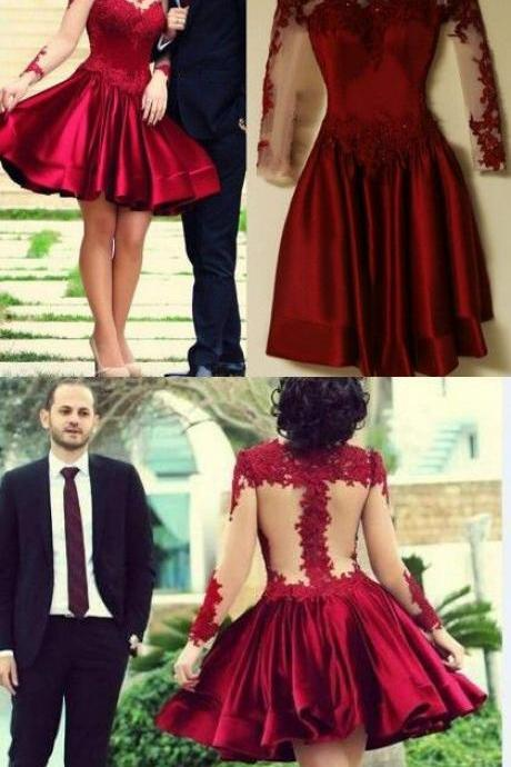 2017 homecoming dresses, long sleeve homecoming dresses,cheap burgundy homecoming dresses, Red homecoming dresses