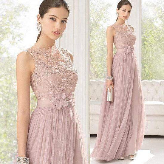 Modest Pink Lace Long Bridesmaid Dresses Prom Dress Tank Flowers Wedding Party On Luulla